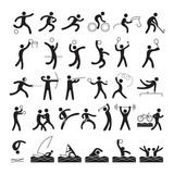 Sports Athletes, Symbol Set, Athletic, Games, Action, Exercise