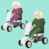 Senior Lady and Man on a Mobility Scooter. Elderly people moving on scooter. Elderly transport. Vector illustration.