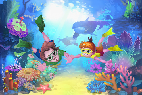 Creative Illustration and Innovative Art: Happy Father's Day in the Sea. Realistic Fantastic Cartoon Style Character, Story, Card Design - 110833722