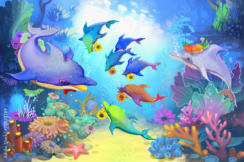 Creative Illustration and Innovative Art: Happy Father's Day in the Sea by Dolphins. Realistic Fantastic Cartoon Style Character, Story, Card Design - 110833789