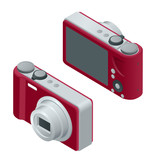Digital photo camera. SLR camera.  The objects are isolated against the white background and shown from different sides. Flat 3d vector isometric illustration.