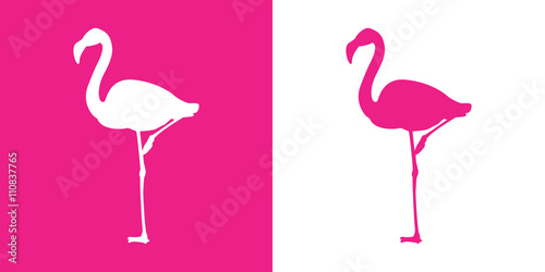 Fototapeta  Icono plano flamingo con color rosa