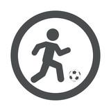 Icono plano futbolista en circulo color gris
