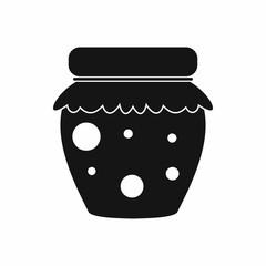 Jar of fruity jam icon, simple style