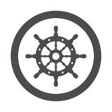 Icono plano timón de barco en circulo color gris