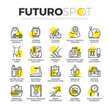 Sports and Fitness Activity Futuro Spot Icons