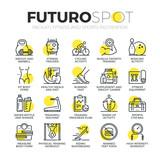 Sports and Fitness Activity Futuro Spot Icons