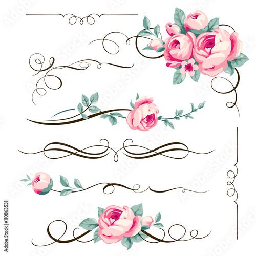 Zdjęcia na płótnie, fototapety, obrazy : Decorative floral elements for your design.