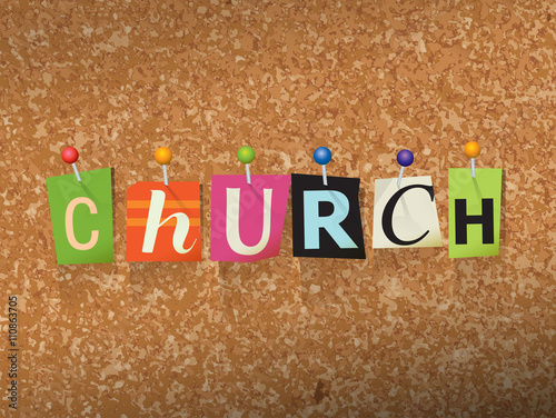 Zdjęcia na płótnie, fototapety, obrazy : Church Concept Pinned Letters Illustration