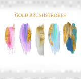 Fototapety set of pastel tone brushstrokes with glitter gold