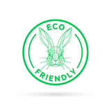 Eco bio and animal friendly icon with rabbit stamp symbol. Vector illustration.