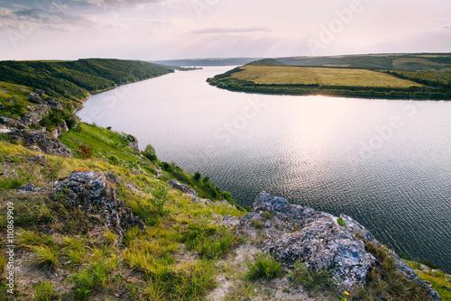 Fototapeta The picturesque river at sunset in Ukraine