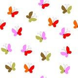 Seamless pattern with colorful butterfly on white background. Vector illustration.