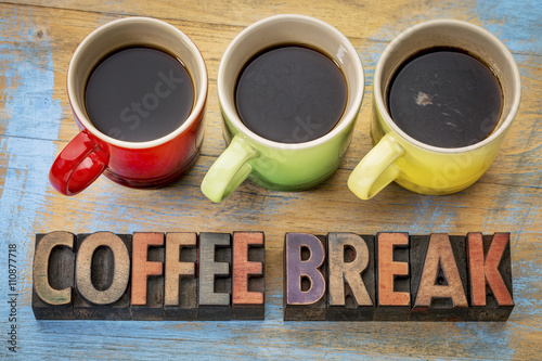 coffee break banner in wood type