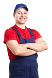 Cheerful worker isolated on white