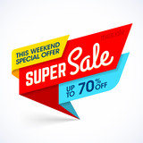 Super sale special offer banner, up to 50% off