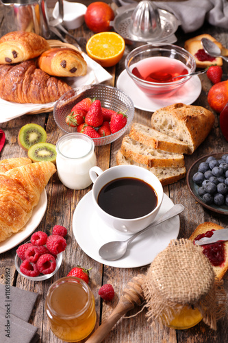 coffee cup,croissant and fruit © M.studio