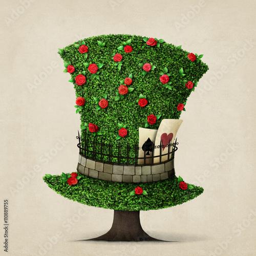 Zdjęcia na płótnie, fototapety, obrazy : Fantasy green hat in the shape of  tree with flowers