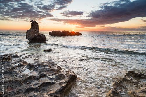 Sunrise seascape of beautiful mediterranean coast. Poster
