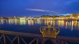 The bridge over to Skeppsholmen in Stockholm, Sweden with its famous golden crowns