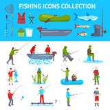 Fishing Flat Icons 2 Banners Set