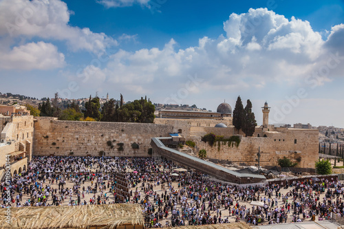The Western Wall of Temple filled with people Poster