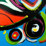 abstract modern painting by oil on  canvas for  interior, illust - 110908743