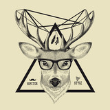 Hand drawn of a deer head in hipster style. Vector illustration of a hipster deer wearing spectacles