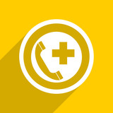 yellow flat design emergency call modern web icon for mobile app and internet