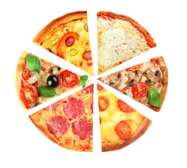 Different slices of pizza isolated on white