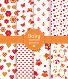 Colorful baby seamless patterns. Vector set.
