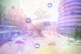 Fototapety smart city and vehicles, wireless communication network, internet of things, abstract image visual
