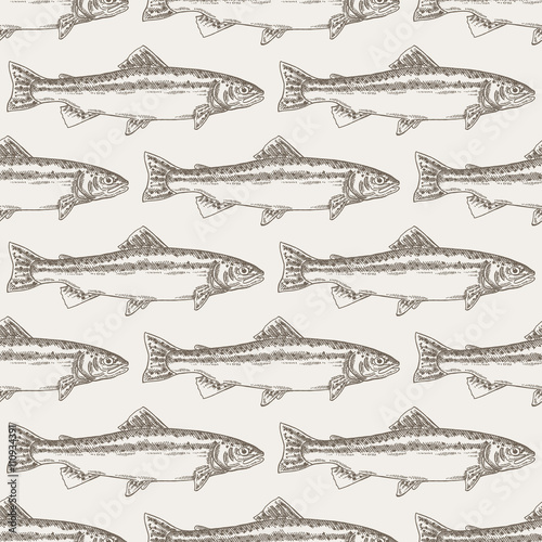 Hand drawn trout fish seamless background. Vector illustration - 110934391