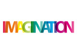 The word Imagination. Vector banner with the text colored rainbo - 110942565