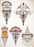Premium Quality insignia set. Baroque ornaments and floral detai