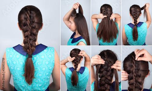 Fototapeta hair tutorial. Braid hairstyle tutorial