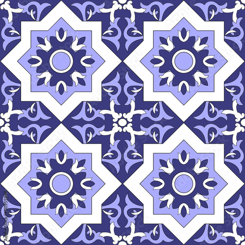 Ornamental pattern vector seamless blue and white color. Tile pattern - azulejo, portuguese tiles, celtic, spanish, moroccan, talavera, turkish or delft dutch tiles design with flowers motifs.