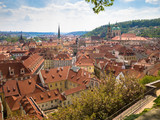 view from above of the houses with red-tiled roofs, spring, Pra