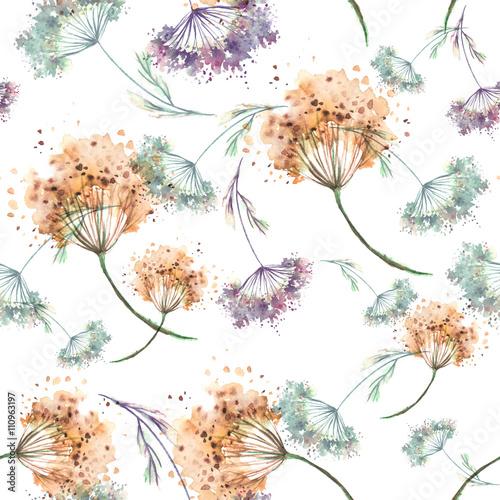 Винтажный бесшовный фон акварелью. Растения, травы, цветы, сухие цветы, розовые цветы акварель. Можно использовать для приглашений, открыток - 110963197