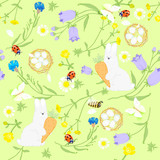 seamless Easter wildflowers pattern, butterflies, rabbits, nests. vector illustration