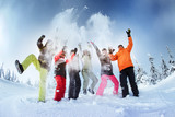Fototapety Group of friends snowboarders having fun on the top of mountain in Sheregesh resort