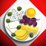 Four kinds of cheese with grapes and honey on a white plate. Vector illustration.