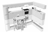 Cucina componibile vista in 3D completa di elettrodomestici ..