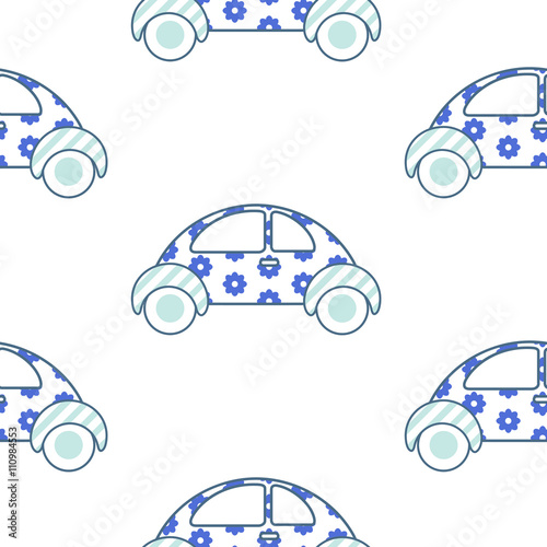 White and blue fun floral car for shirt and apparel pattern design. Summer light seamless fashion design for swimwear. - 110984553