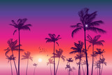 Exotic tropical palm tree landscape   at sunset or moonlight,  with cloudy sky. Highly detailed  and editable - 110993739
