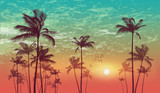 Exotic tropical palm tree landscape   at sunset or moonlight,  with cloudy sky. Highly detailed  and editable - 110993912