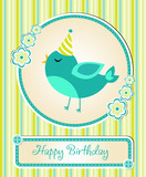 baby card Happy birthday, animals vector