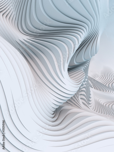 Foto op Plexiglas Abstract wave Abstract 3d rendering wavy band background surface