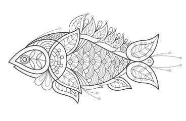 Adult coloring. A fish.
