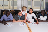 Fototapety Language training for refugees in a German camp